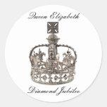 Pegatinas del jubileo de diamante de la reina etiqueta redonda