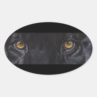 Pegatinas del leopardo de la pantera negra por pegatina ovalada