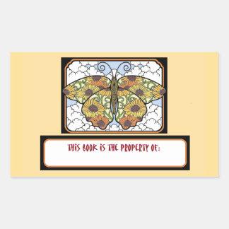 Pegatinas del letrero del libro de la mariposa de pegatina rectangular
