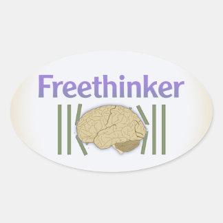 Pegatinas del librepensador (con el cerebro pegatina ovalada