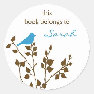 Pegatinas del libro del pájaro de Brown azul de la Pegatina Redonda