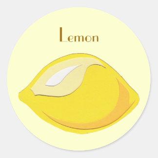 Pegatinas del limón etiquetas redondas