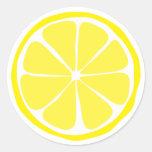 Pegatinas del limón de la fruta cítrica del verano etiqueta redonda
