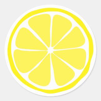 Pegatinas del limón de la fruta cítrica del verano pegatina redonda