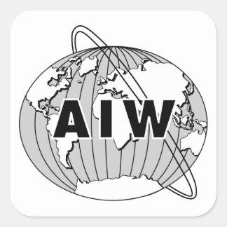 Pegatinas del logotipo de AIW - negro y blanco Pegatina Cuadrada
