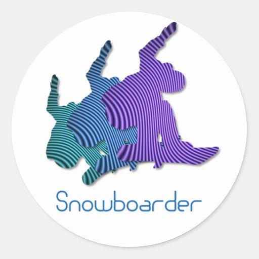 Pegatinas del logotipo del Snowboarder Etiquetas Redondas