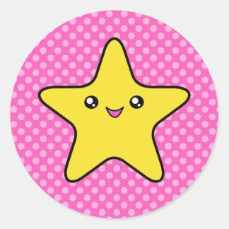 Pegatinas del lunar del rosa de la estrella de pegatina redonda