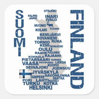 Pegatinas del MAPA de FINLANDIA Calcomanía Cuadradas