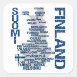 Pegatinas del MAPA de FINLANDIA Pegatina Cuadrada