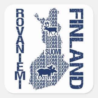 Pegatinas del MAPA de FINLANDIA - Rovaniemi Calcomanía Cuadrada