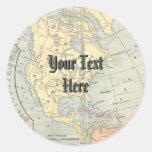 Pegatinas del mapa del vintage etiqueta redonda