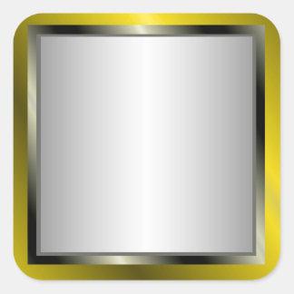 Pegatinas del marco de la plata y del oro pegatina cuadrada