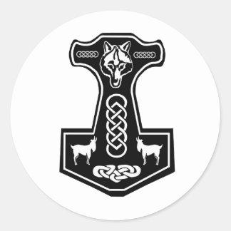 Pegatinas del martillo del Thor Pegatina Redonda