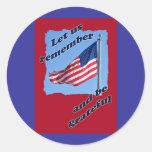 Pegatinas del Memorial Day de la bandera americana Pegatina Redonda