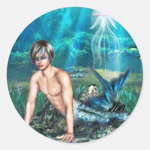 Pegatinas del Merman Etiqueta Redonda