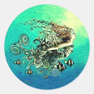 Pegatinas del mito de la fantasía de las sirenas pegatina redonda