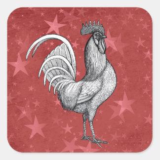 Pegatinas del modelo de estrella del gallo del pegatina cuadrada