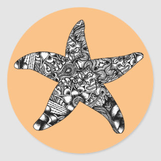 Pegatinas del modelo de las estrellas de mar pegatina redonda