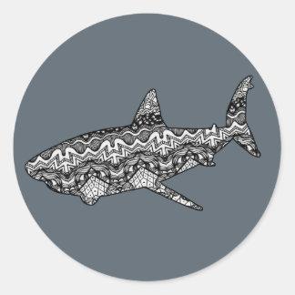 Pegatinas del modelo del tiburón pegatina redonda