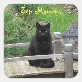 Pegatinas del momento del zen del puente del gato pegatina cuadrada