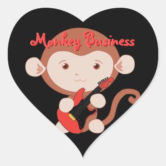 Pegatinas del mono de la guitarra eléctrica pegatina en forma de corazón