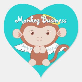 Pegatinas del mono del ángel pegatina en forma de corazón