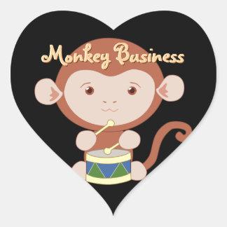 Pegatinas del mono del batería pegatina en forma de corazón
