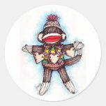 Pegatinas del mono del calcetín - estupideces pegatinas redondas