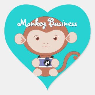 Pegatinas del mono del fotógrafo pegatina en forma de corazón