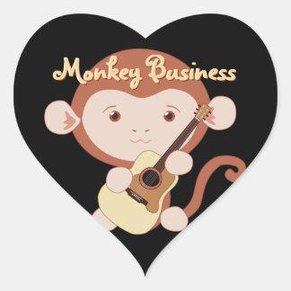 Pegatinas del mono del guitarrista pegatina en forma de corazón