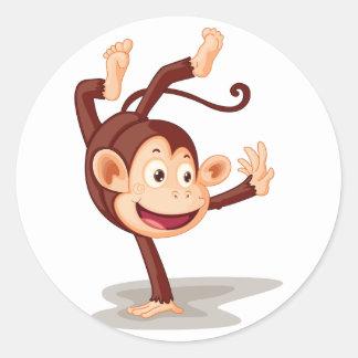 Pegatinas del mono por un lado pegatina redonda
