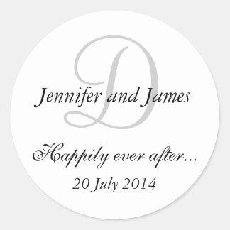 Pegatinas del monograma D para casar favores Etiquetas Redondas