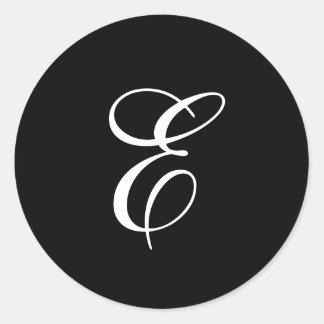 Pegatinas del monograma de E Pegatina Redonda