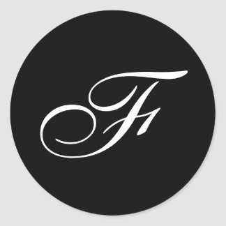 Pegatinas del monograma de F Pegatina Redonda