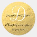 Pegatinas del monograma de la hoja de oro para etiqueta redonda