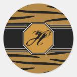 Pegatinas del monograma de la impresión del tigre