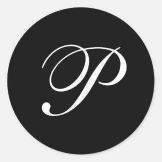 Pegatinas del monograma de P Pegatina Redonda