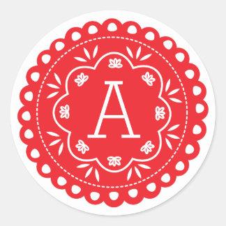 Pegatinas del monograma de Papel Picado - rojo Pegatina Redonda
