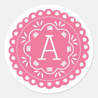 Pegatinas del monograma de Papel Picado - rosa Pegatina Redonda