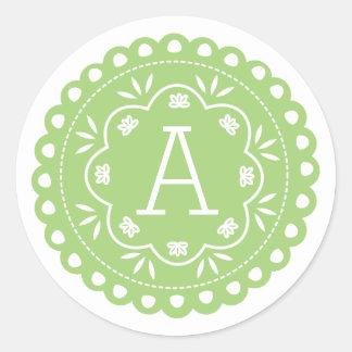 Pegatinas del monograma de Papel Picado - verde Pegatina Redonda