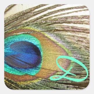 Pegatinas del monograma del boda del pavo real
