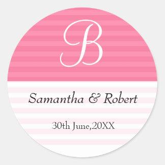 Pegatinas del monograma del boda: Rayas rosadas Etiquetas Redondas