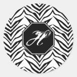 Pegatinas del monograma del estampado de zebra