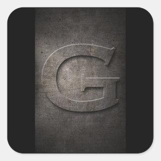 Pegatinas del monograma del metal de G Pegatina Cuadrada