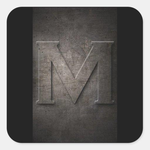Pegatinas del monograma del metal de M Colcomanias Cuadradass