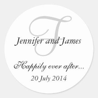 Pegatinas del monograma F para casar favores Etiquetas Redondas