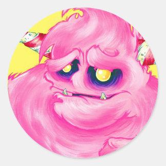 Pegatinas del monstruo del caramelo de algodón etiqueta redonda
