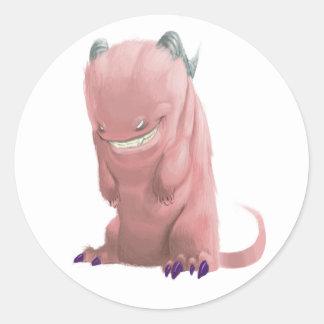 """pegatinas """"del monstruo rosado del calcetín"""" pegatina redonda"""
