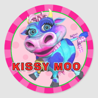 Pegatinas del MOO de Kissy de la diversión Etiquetas Redondas