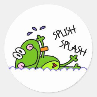 Pegatinas del muchacho de Froggie de la natación Pegatina Redonda